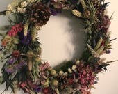 Image of Natural Christmas Door Wreath made from dried flowers. Indoor decoration or gift. Christmas, Mothers Day, Birthday present. Rustic wild