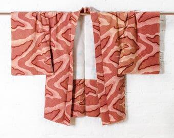Wilma silk kimono jacket l Japanese haori with all over camouflage shibori