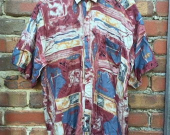 ON SALE Men's Abstract Patterned Short Sleeve Shirt Size Large