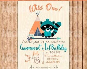 50%Off Wild One, Raccoon, Birthday, Tribal Invitation, Native, Arrow, Personalized Printable, Raccoon Invitation, Baby Shower, Party Birthda