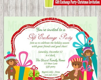 50%Off Gift Exchange Party-Christmas Invitation-Bear Christmas