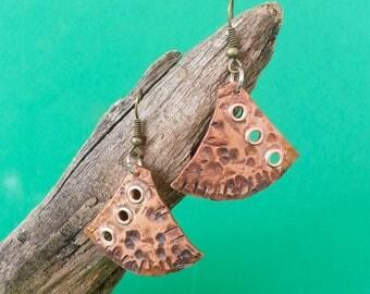 Handmade Copper Earrings with Rivets