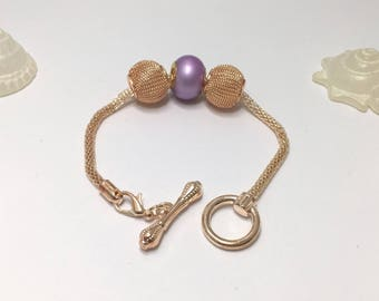 Bracelet charm purple Gold's, ref 551 toggle clasp