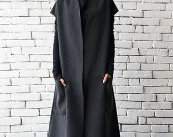 SALE Grey Winter Wool Coat / Loose Long Jacket / Warm Coat with Big Pockets / Oversize Sleeveless Jacket by METAMORPHOZA