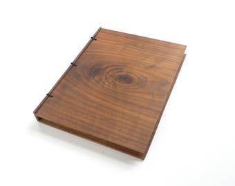 Walnut Wooden Notebook, Wooden Wedding Guestbook, Wood Journal, Engraved Notebook, Wooden Sketchbook, Custom Journal, Travel Notebook- 8x6