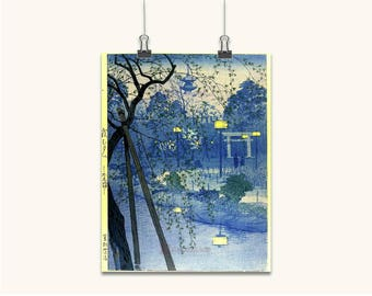 JAPANESE ART print ancient old  canvas poster wall art old style wall decor color blue various sizes