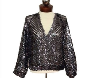 Vintage sequin open knit cropped top Edith Flagg