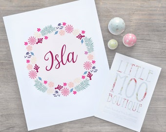 Floral name sign - name print for girl - personalised baby name art - boho girl print - bedroom decor pictures - nursery decor - art prints