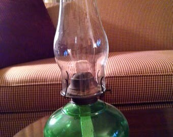 P & A Manufacturing green glass oil lamp