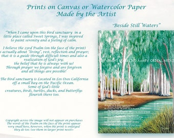 Artist made print,standard size,reflections, Eucalyptus trees,tree bark,still waters, teal,23rd Psalm,Beside Still Waters,shores, leaves