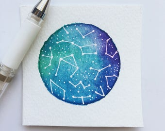 Constellation Watercolor Painting, Constellation Painting, Zodiac Sign Painting, Watercolor Galaxy Painting, Starry Sky Painting, Original