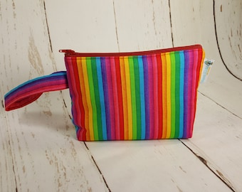 Notions Pouch Narrow Rainbow Stripe, Mini Zippered Wedge Bag, Pride Knitting Notions Pouch, Craft Pouch NP0019
