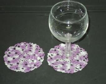 SET of 6 DOILIES or coasters handmade crochet purple