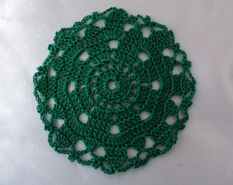 SET of 6 place mats or glass green coasters, hand made crochet