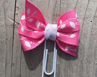 Pink and White Vines and Leaves Bow Planner Clip