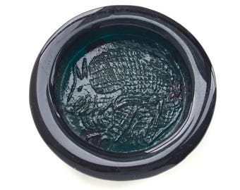 Amazing Blenko Teal Glass Ashtray with a Armadillo