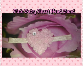 Pink Heart Baby Girl Head Band
