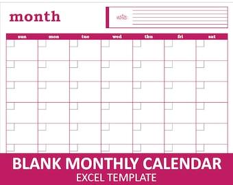 Blank Monthly Calendar - Magenta | Printable Excel Calendar Template | Monthly Calendar | Instant Digital Download