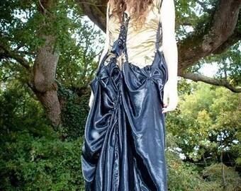 "dress ""dragon's breath"" in gold taffeta and black satin"