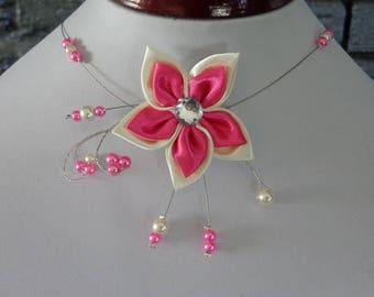 satin ivory yarn hypoallergenic available Fuchsia Flower necklace on wedding