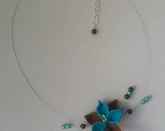 Necklace blue Brown flower wire hypoallergenic available on wedding