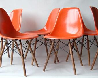 Set Of Six Matched Vintage Eames DSW Red Orange Fiberglass Sideshells On  Walnut Dowel Bases,