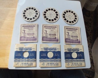 Vintage Oberammergau Passion Play Germany 1950 ViewMaster reels 1550, 1551, 1552 PACKET SET from 1950, Original Packet and Story Book, GAF