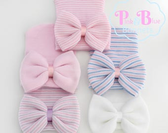 Infant Hospital Hat Bow Baby Girl Hospital Hat Beanie with Bow - PINK