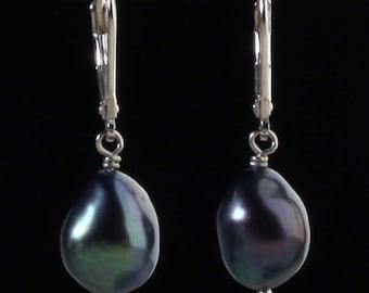Sterling Silver Baroque Cultured Black Pearl Lever Back Earrings, 9 -10 mm Pearls, 1.60 grams