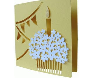 Happy Birthday Cupcake Card , Blank inside , Flowers , Candle , PaperCut , Adults , Teens , Kids