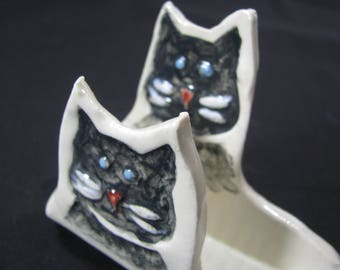 ceramic business cards holder, cat card holder, fun for your desk, cat lovers desk accessory,business cardholder black cats, cat lover gift
