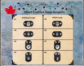 Leather SHORT snap keepers for leather covers chunks Noosa Gingersnaps
