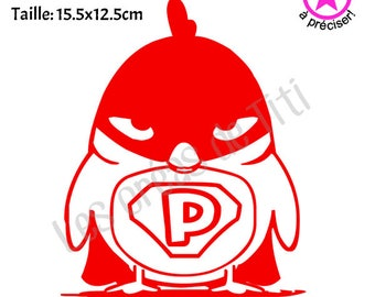 "Heat transfer Bird ""PiouSuper Hero"", heat transfer to iron, bird iron on, heat transfer design to iron on clothes, iron on decal bird"