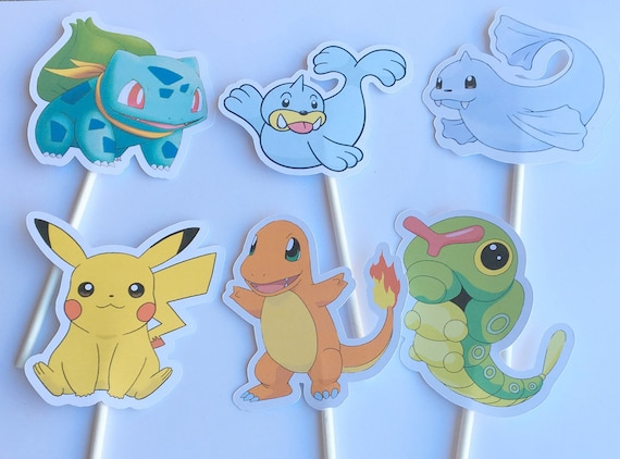 Cupcake Toppers -Pokemon,INSTANT DOWNLOAD,Pokemon Go,Pokemon Decoration,Digital Download,Pokemon Party,Pikachu,Squirtle,Bulbasaur, Version 1