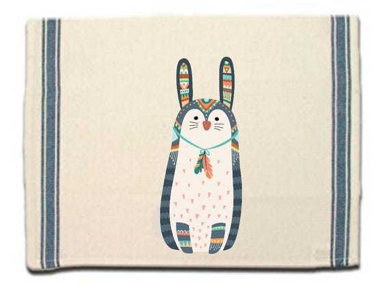 Tribal Bunny Kitchen Towel,Dish Towel, Tea Towel,Flour Sack Material,Woodland Tribal Animals Dish Towels,Flour Sack Kitchen Towel,Dish Cloth