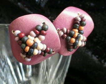 Unique Chunky Beaded Earrings Rose multicolor beads pierced Jewelry Pink  retro Fashion Unusual Statement Runway tribal