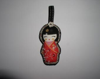 Keychain, bag charm fabric geisha with pearls and button