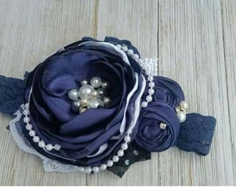 Navy and white couture headbands