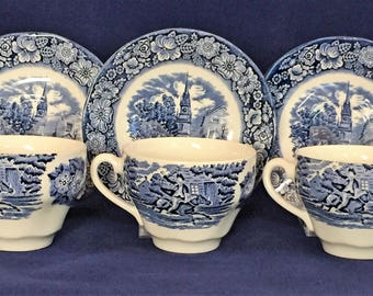 Vintage Staffordshire Liberty Blue and White Saucers Set of 3 Old North Church Plates Vintage Replacement China