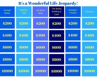 It's a Wonderful Life Jeopardy - Printable Game, Classroom Game, Family Game, Party Game, Christmas Game, Youth Group Game, Instant Download