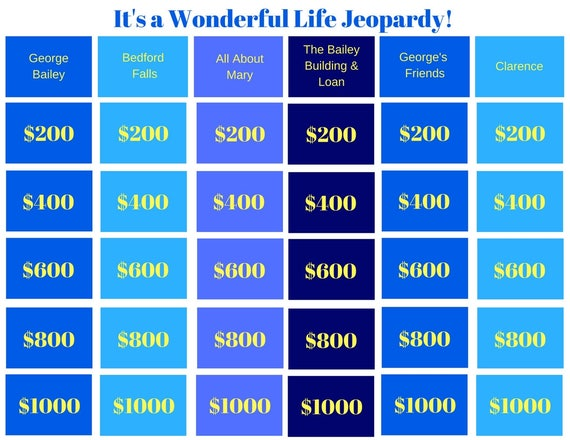It's a Wonderful Life Jeopardy Printable Game Classroom