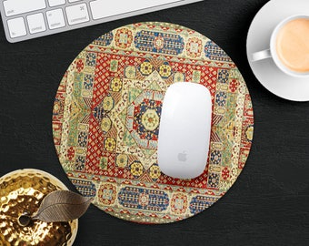 Mouse Pad Rug Mouse Mat Red Blue Persian Carpet MousePad Desk Accessories Mouse Pad Round Mouse Mat Persian Rug Mouse Pad Office Gift Him