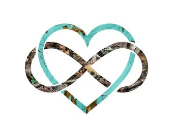 Infinity Heart  Decal/  Teal Camo