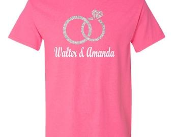 Wedding , Bride , Groom ,  Tee Shirt  / Available in Pink , Black or Gray Tees