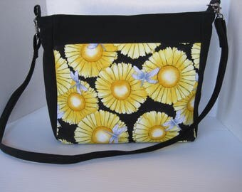 Handbag, Yellow Floral Fabric, Purse,  Cross body, Handmade Bag, Womens Accessories, Gift, Easter, Mothers Day