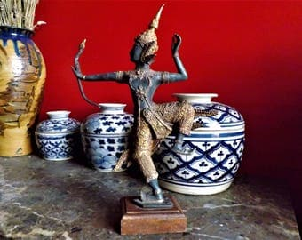 Ancient bronze statue of King Rama celestial archer. Thailand, 1950s