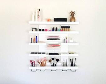 Modern Wall Mounted Makeup Organizer | Makeup Shelf | Makeup Organizer | Brush Holder | Eye Palette Organizer | Stylist | Makeup Artist