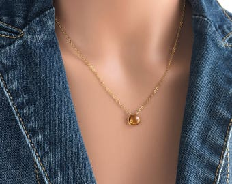 Yellow Citrine Necklace - Dainty Gemstone Necklace - Citrine Necklace - Dainty Birthstone Necklace -  Birthstone Necklace November