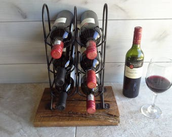 Six Bottle Wine Rack - Countertop Display made with upcycle metal rack and reclaimed wood.