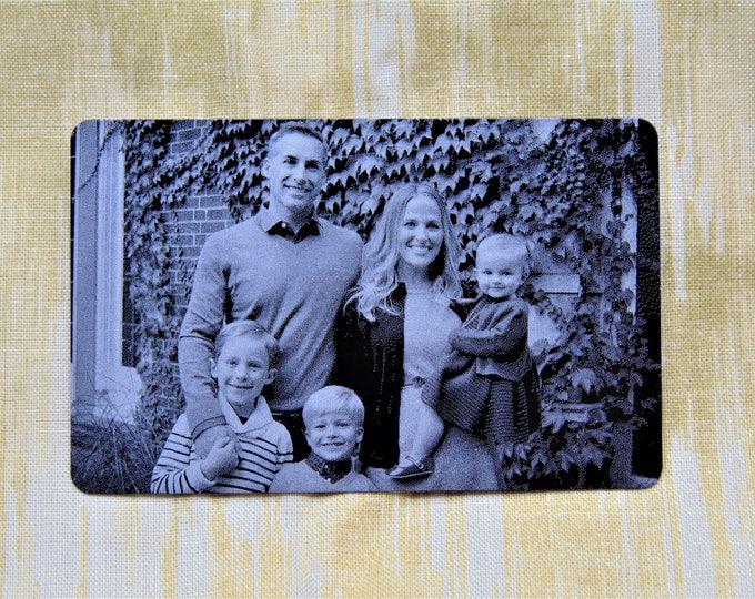 Engraved Wallet Insert With Picture Personalized Custom Etched on Anodized Aluminum